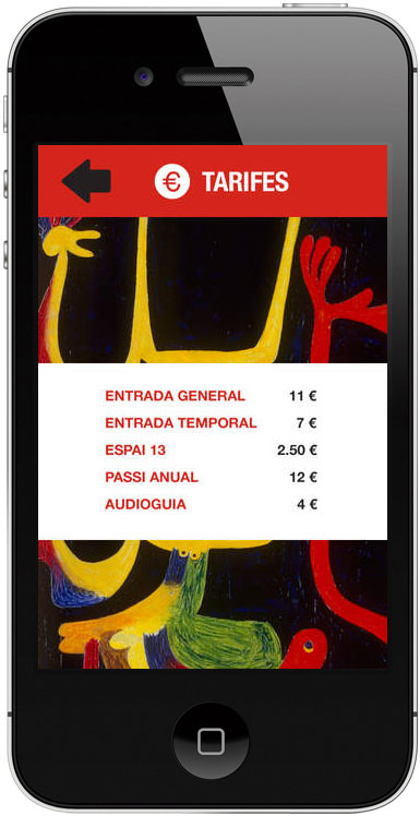 Mobile app showcasing Joan Miro's art work