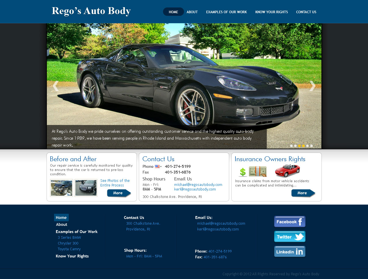 Website for Rego's Auto Body